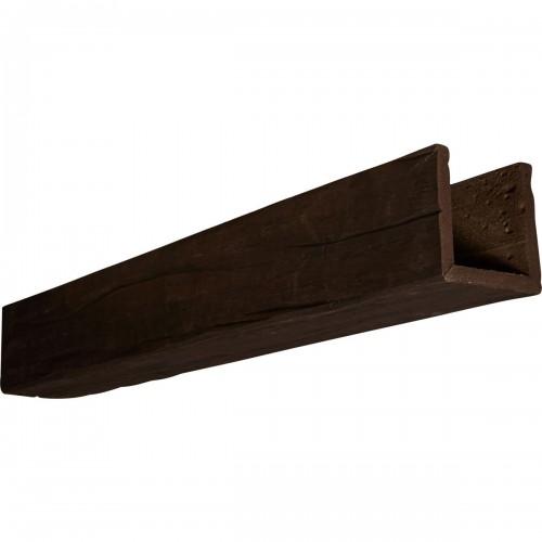 "10""W x 4""H x 18'L 3-Sided (U-beam) Riverwood Endurathane Faux Wood Ceiling Beam, Espresso Finish"