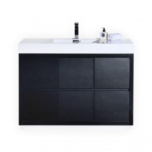"""Bliss 48"""" Black Free Standing Modern Bathroom Vanity"""