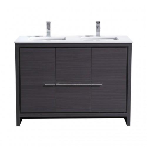 KubeBath Dolce 48″ Double Sink Gray Oak Modern Bathroom Vanity with White Quartz Counter-Top