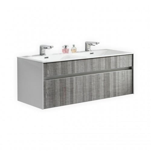 "Fitto 48"" Ash Gray Wall Mount Modern Bathroom Vanity - Double Sink"