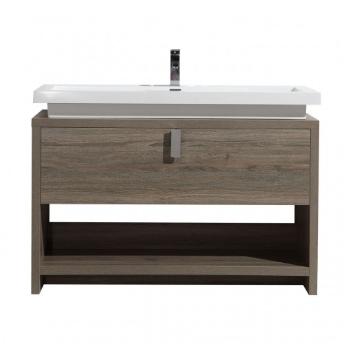 "Levi 48"" Havana Oak Modern Bathroom Vanity w/ Cubby Hole"