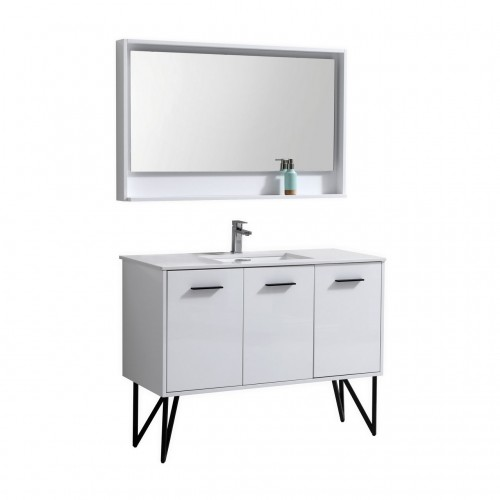 "Bosco 48"" Modern Bathroom Vanity w/ Quartz Countertop and Matching Mirror"