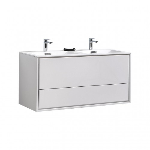 """DeLusso 48"""" Double Sink High Glossy White Wall Mount Modern Bathroom Vanity"""