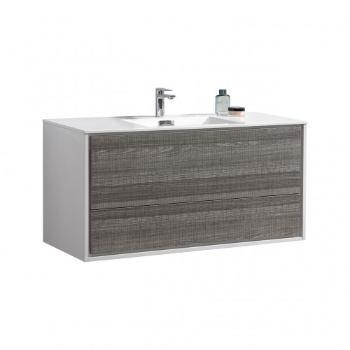 "DeLusso 48"" Single Sink  Ash Gray Wall Mount Modern Bathroom Vanity"