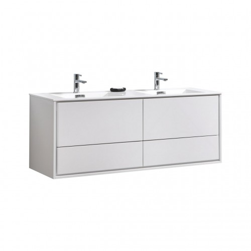 """DeLusso 60"""" Double Sink High Glossy White Wall Mount Modern Bathroom Vanity"""