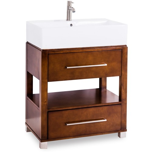 """28"""" Chocolate Bathroom Vanity Preassembled with top and bowl"""