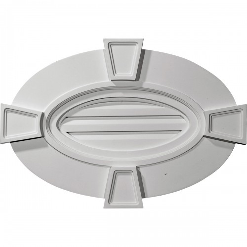 29W x 20H x 2 1/4P Horizontal Oval Gable Vent with Keystones - Functional