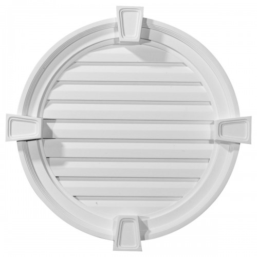 22W x 22H x 2 1/8P Round Gable Vent with Keystones Functional
