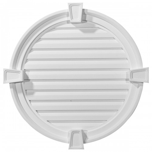 24W x 24H x 2 1/8P Round Gable Vent with Keystones Functional