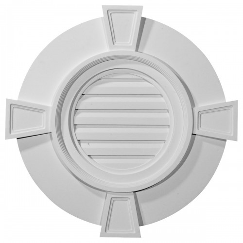 30W x 30H x 2 1/4P Round Gable Vent with Keystones Functional
