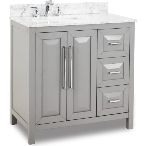 """36"""" Grey Modern Bathroom Vanity VAN100-36-T with White Marble Top"""