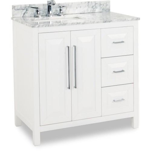 "36"" Cade Contempo White Vanity with Preassembled Top and Bow"
